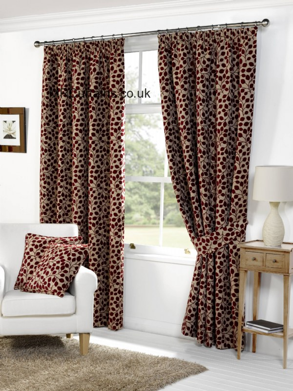 Sundour Lynwood Pencil Pleat Curtain From In Red - Ready made curtains red