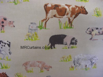 Farmyard Animals curtain fabric