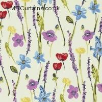 Cream/Multi curtain fabric material