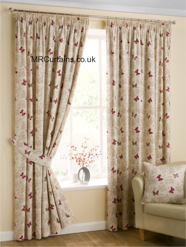 Design studio by belfield mariposa pencil pleat curtain from in red for Lined valances for living room