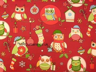 Christmas Owls (Christmas Fabrics) made to measure curtain